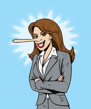 Lying salesperson or business woman
